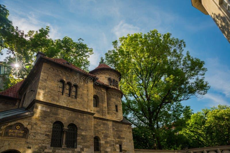 Staronovasynagoga De oude nieuwe synagoge in Praag in de Tsjechische Republiek Het Joodse kwart van Praag royalty-vrije stock fotografie