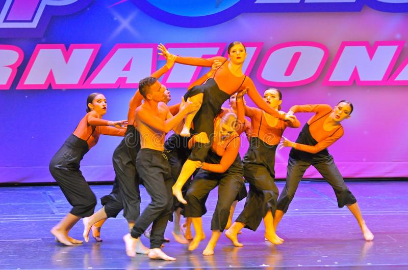 Starpower International Talent Competition. Teenagers performing dance program at the Starpower International Talent Competition in the USA stock photo
