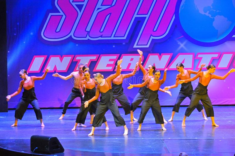 Starpower International Talent Competition. Teenagers performing dance program at the Starpower International Talent Competition in the USA royalty free stock photo