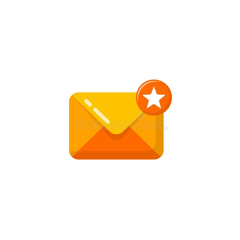 Starred message mail icon vector. starred email icon symbol design. S, app, business, chat, client, communication, concept, correspondence, document, element stock illustration
