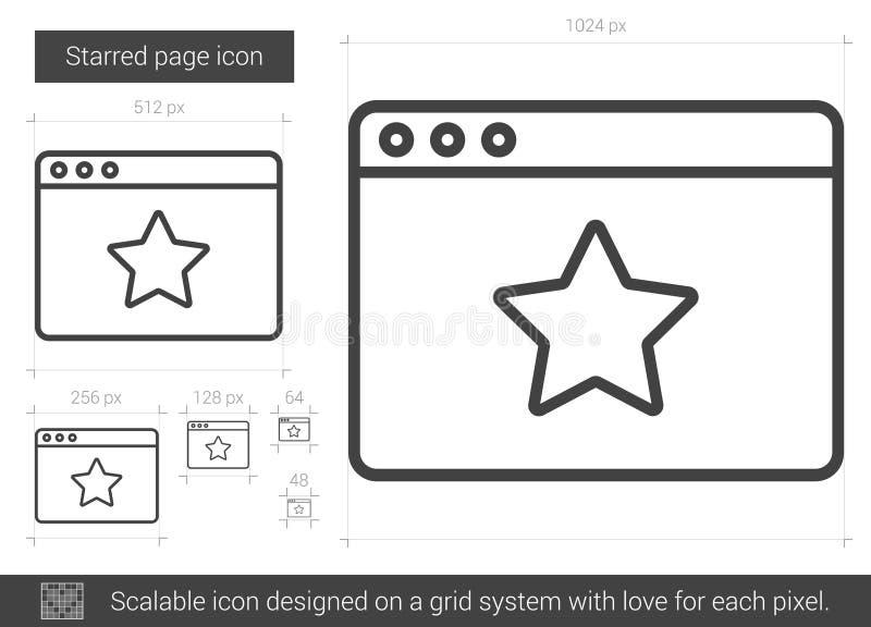 Starred sidalinje symbol stock illustrationer