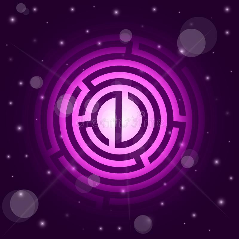 Starry background of stars and maze vector illustration