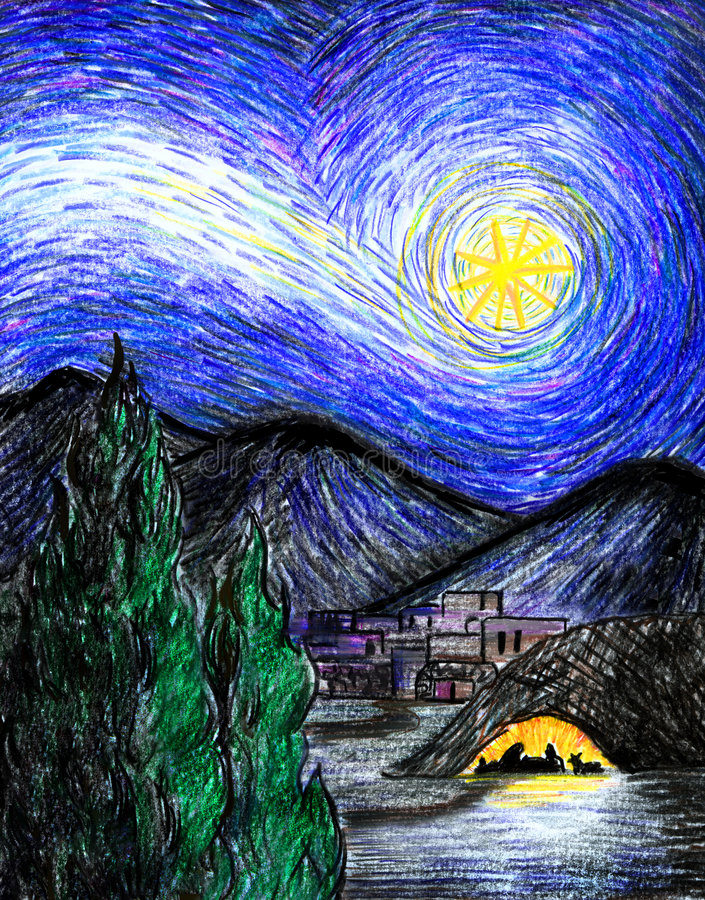 starry bethlehem natt stock illustrationer