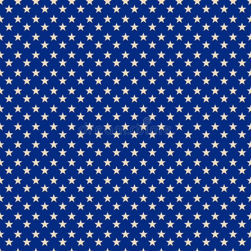 Starry Blue Patriotic Pattern Print stock illustration