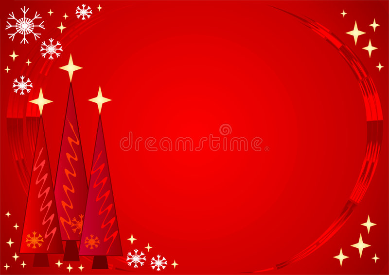 Starry Christmas. A decorative Christmas illustration with trees, snowflakes and lots of stars. Can be used as a background royalty free illustration
