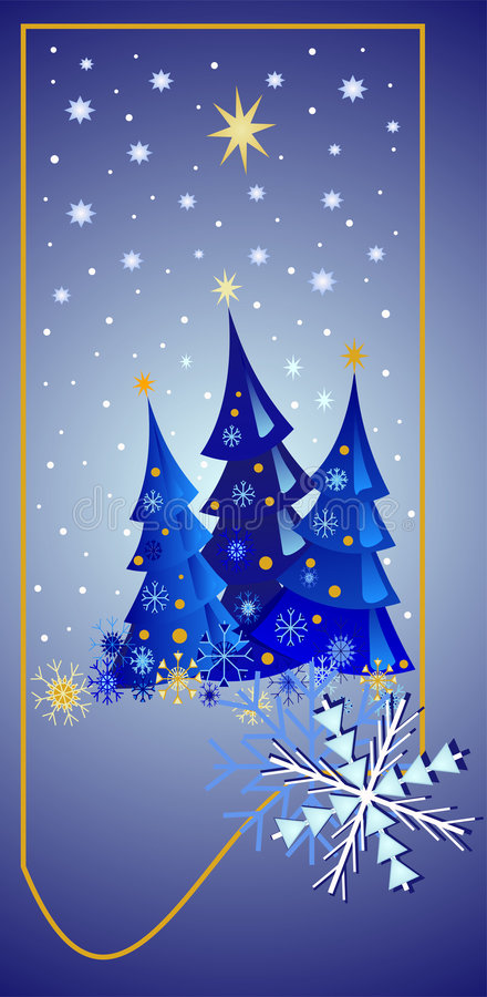 Starry Christmas Night. Illustration in blue, white and gold with christmas trees, lots of stars, snow and decorative snowflakes royalty free illustration