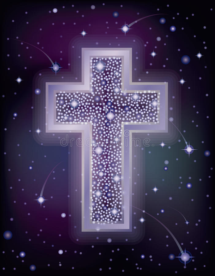 Download Starry Cross Christian Holidays Wallpaper Stock Vector