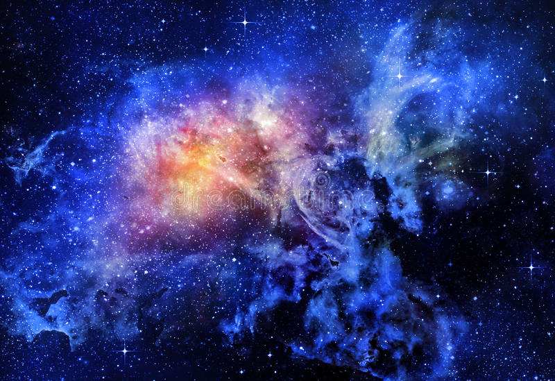 Starry deep outer space nebual and galaxy vector illustration