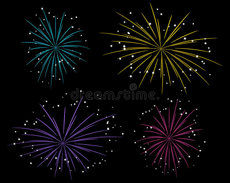 Starry fireworks. Set of bright starry fireworks royalty free illustration