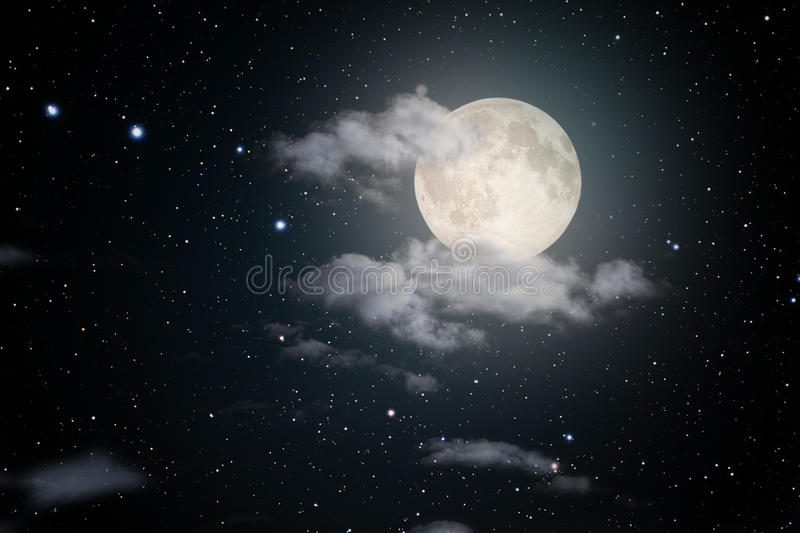 Starry full moon night. Sky with some clouds. Used part of a NASA photo for the stars stock illustration