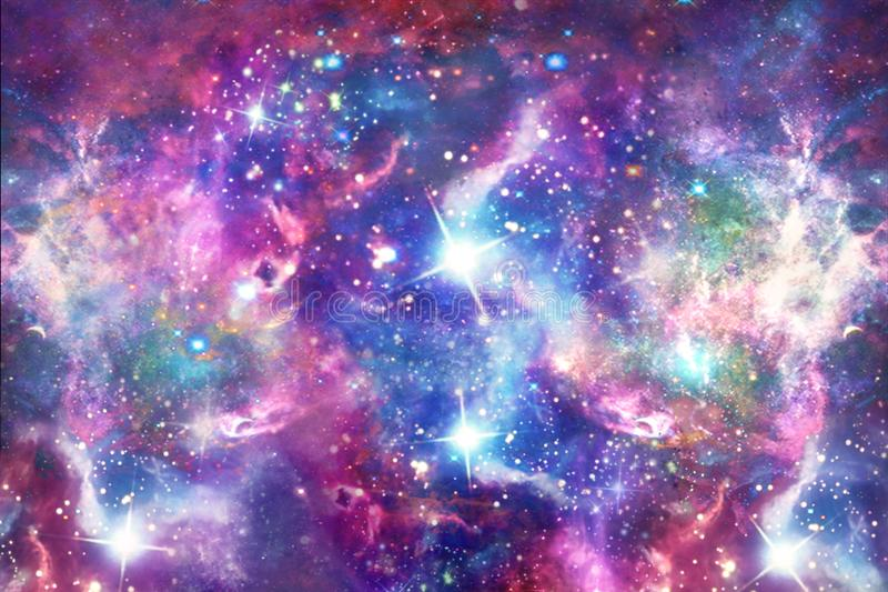 Starry Galaxy Print in Unicorn Colors Seamless Pattern. An abstract multicolored galaxy in space, beauty of universe, cloud of stars, Artistic background vector illustration