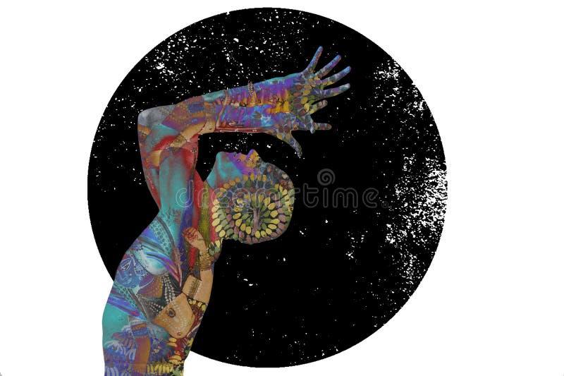 Starry Joga Man W Kosmicznej Świadomości ilustracja wektor