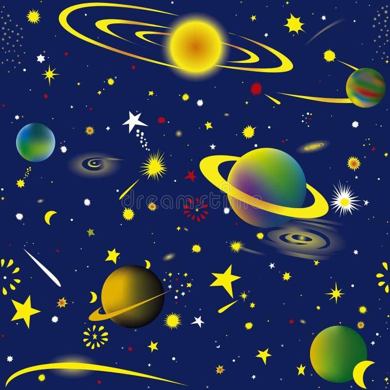 Starry night. Seamless illustration of fantasy cosmic starry night wallpaper vector illustration
