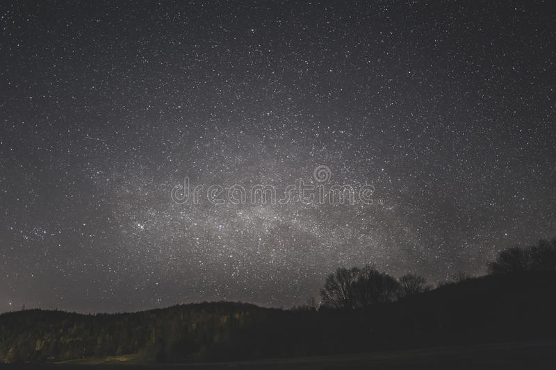 Starry Night Above The Silhouette Of Trees And Land Form Free Public Domain Cc0 Image