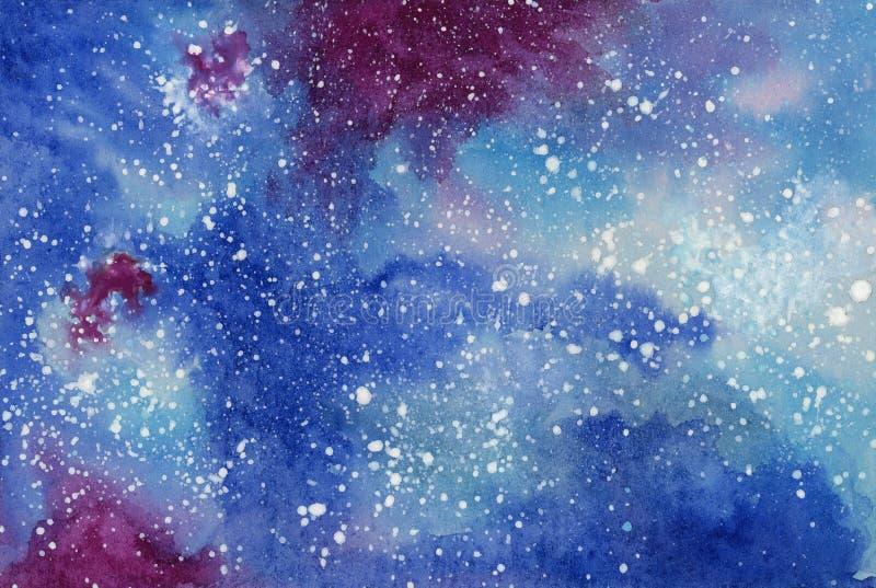 Starry night galaxy. Watercolor on cardboard stock illustration