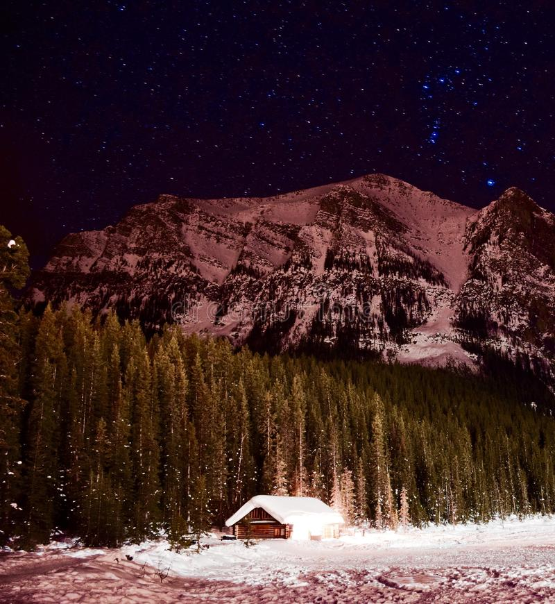 Starry Night at Lake Louise stock photography