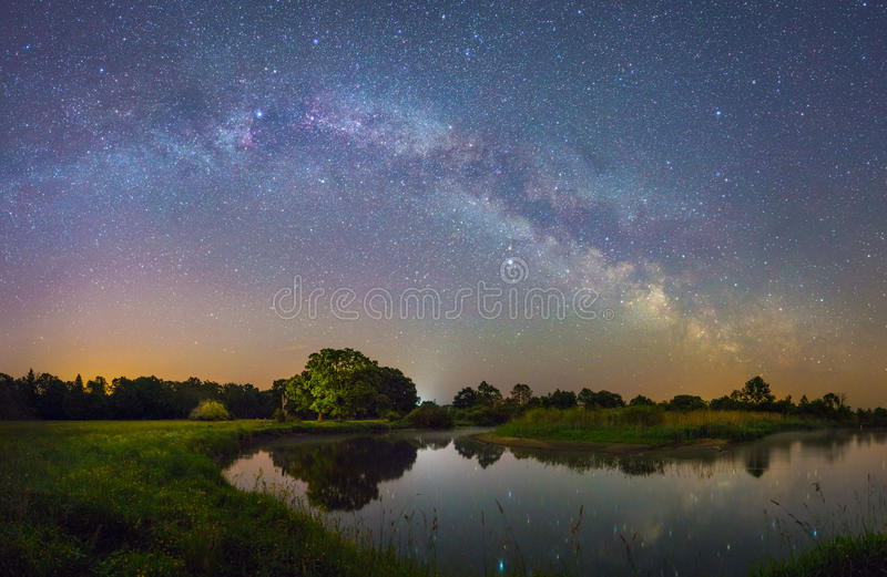 Starry night landscape royalty free stock images