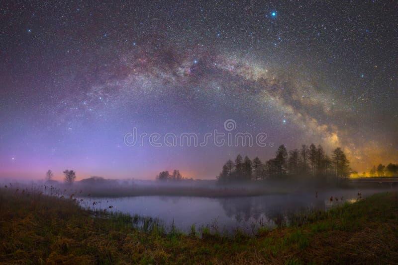 Starry night landscape royalty free stock image