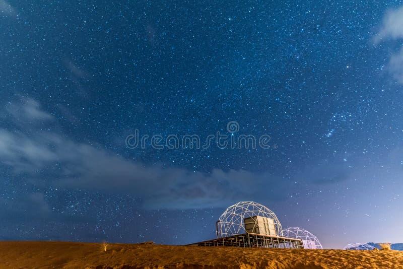 Starry night with Martian domes in Wadi Rum, Jordan stock photo