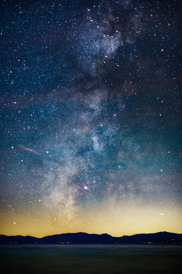 Starry Night and Milky Way above Lake Tahoe stock images