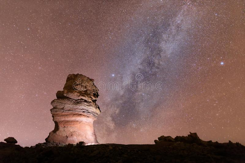 Starry night and milky way in Teide stock photos