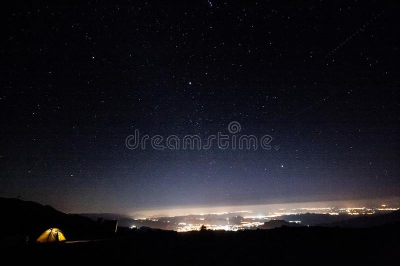Starry night. Mountains in Oman royalty free stock images