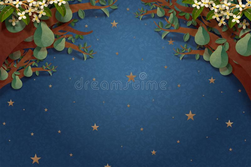 Starry night with pomelo trees. Frame in paper art style royalty free illustration