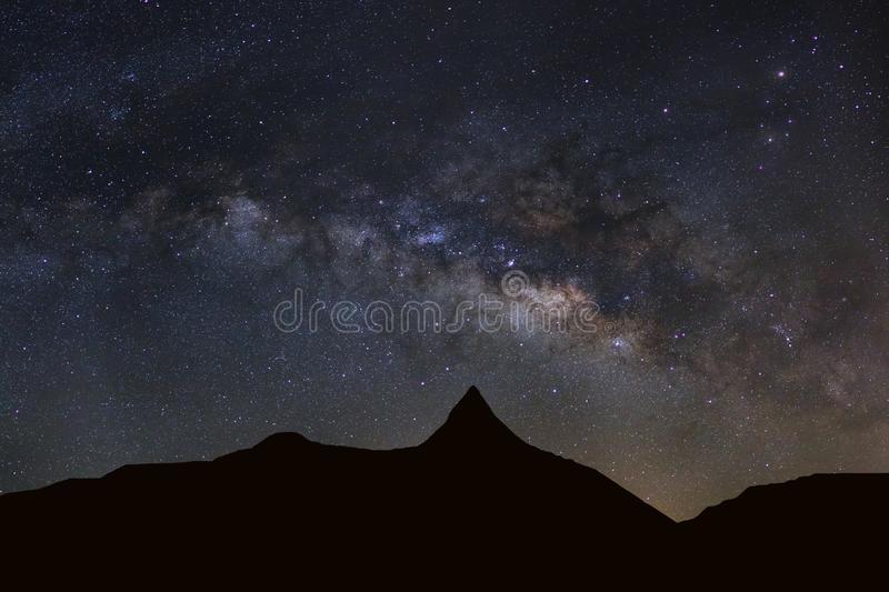 Download Starry Night Sky With High Moutain And Milky Way Galaxy With Sta Stock Image - Image of adventure, outdoor: 102449771