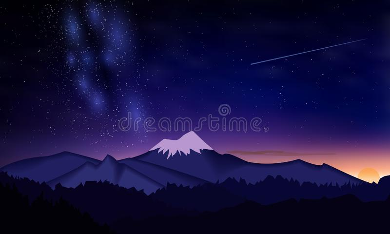 Starry night sky in the mountains. Milky Way and a shooting star. Starry night sky in the mountains. Milky Way. Sunrises sunset in the mountains vector illustration