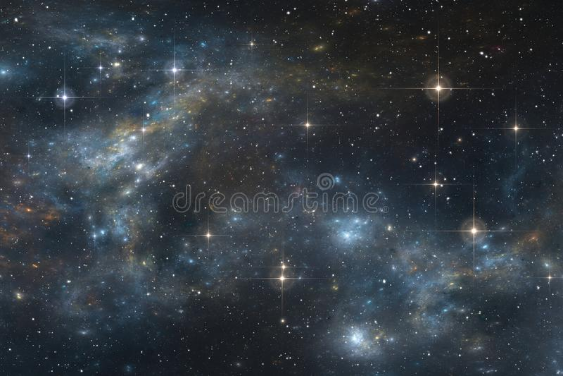 Starry night sky space background with nebula. 3D illustration royalty free illustration