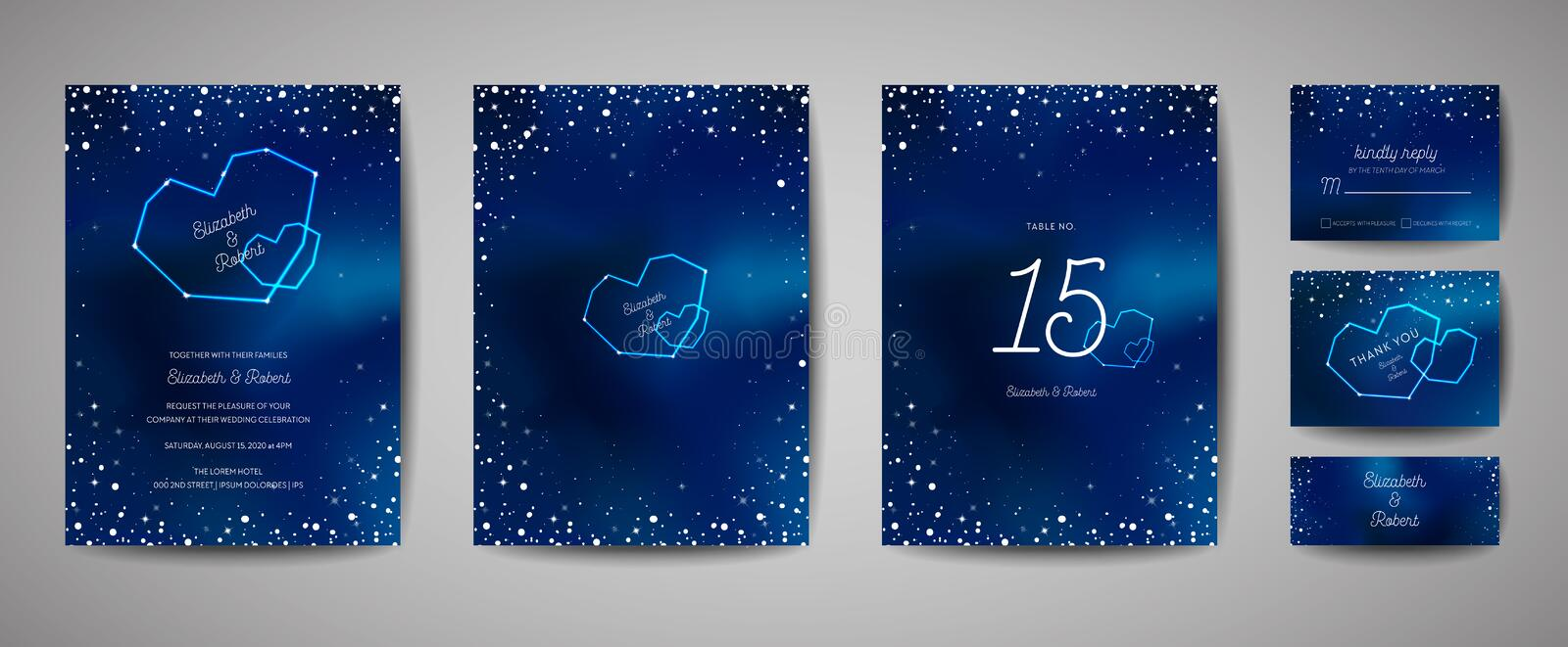 Starry Night Sky Trendy Wedding Invitation Card, Save the Date Celestial Template with Galaxy, Space, Stars royalty free illustration