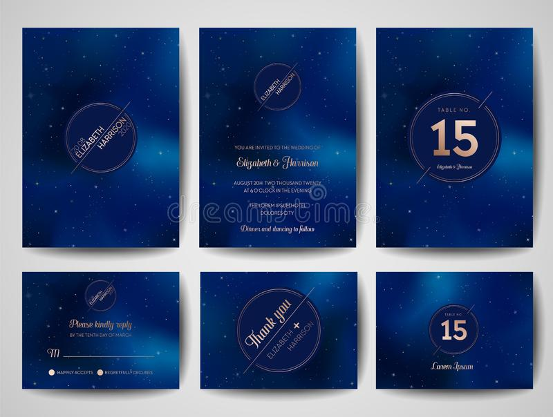 Starry Night Sky Trendy Wedding Invitation Card, Save the Date Monogram Celestial Template of Galaxy, Space, Stars vector illustration