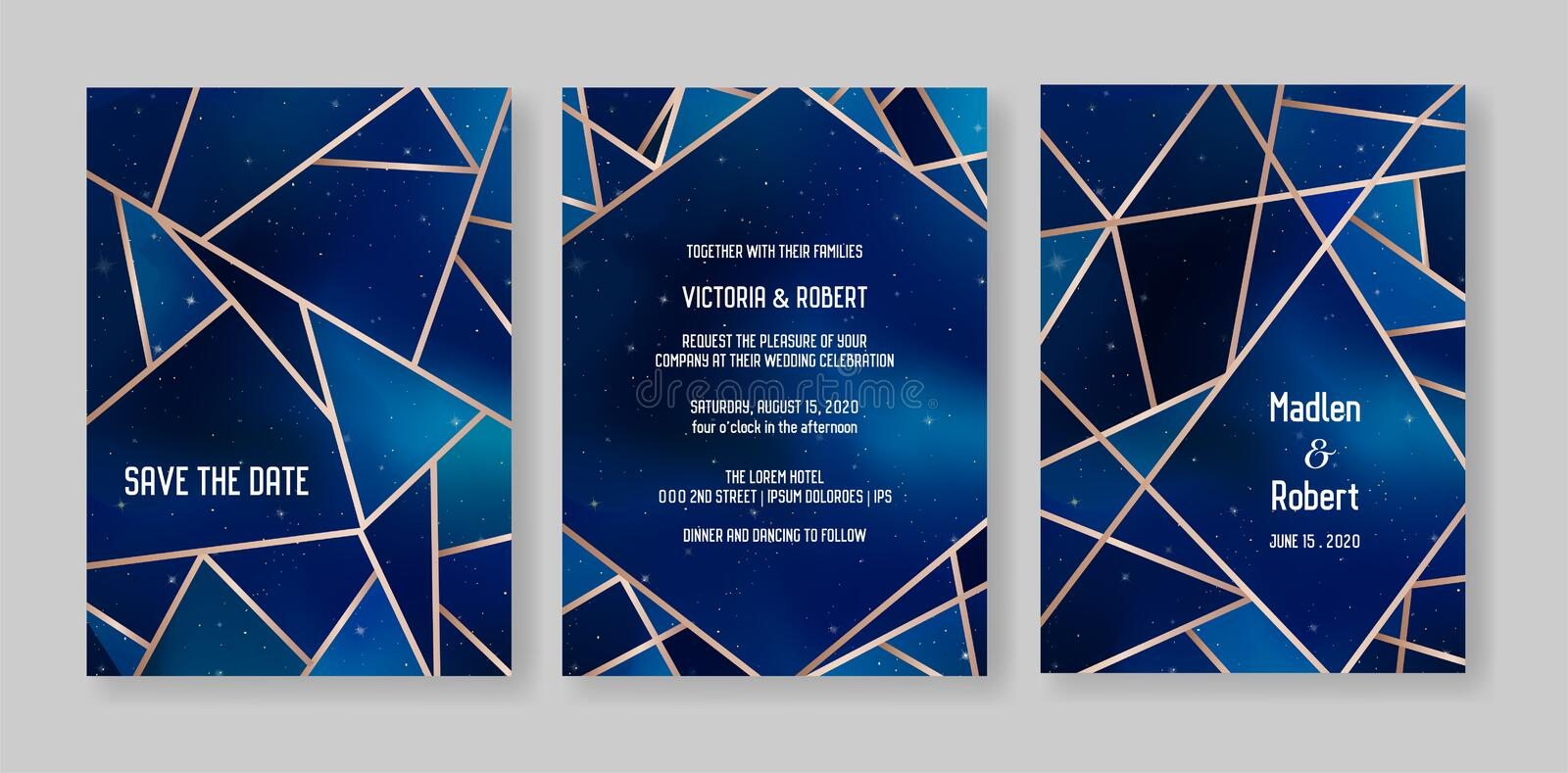 Starry Night Sky Trendy Wedding Invitation Card Set, Save the Date Celestial Template of Galaxy, Space, Stars. Illustration in vector royalty free illustration