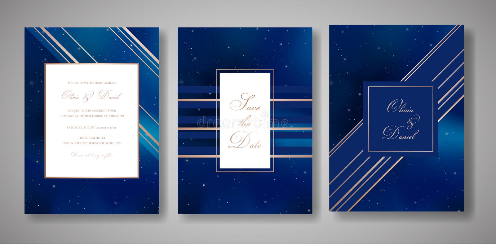 Starry Night Sky Trendy Wedding Invitation Card Set, Save the Date Celestial Template of Galaxy, Space, Stars vector illustration