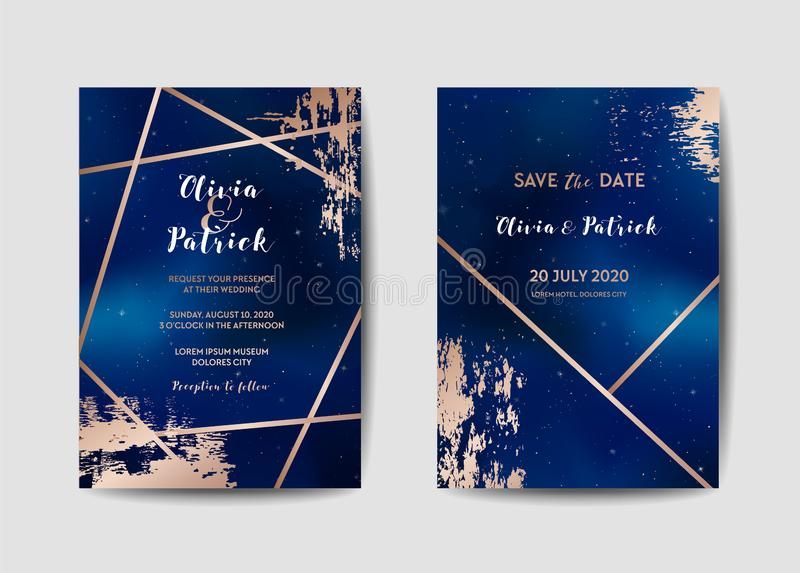 Starry Night Sky Trendy Wedding Invitation Card Set, Save the Date Celestial Template of Galaxy, Space, Stars. Illustration in vector stock illustration