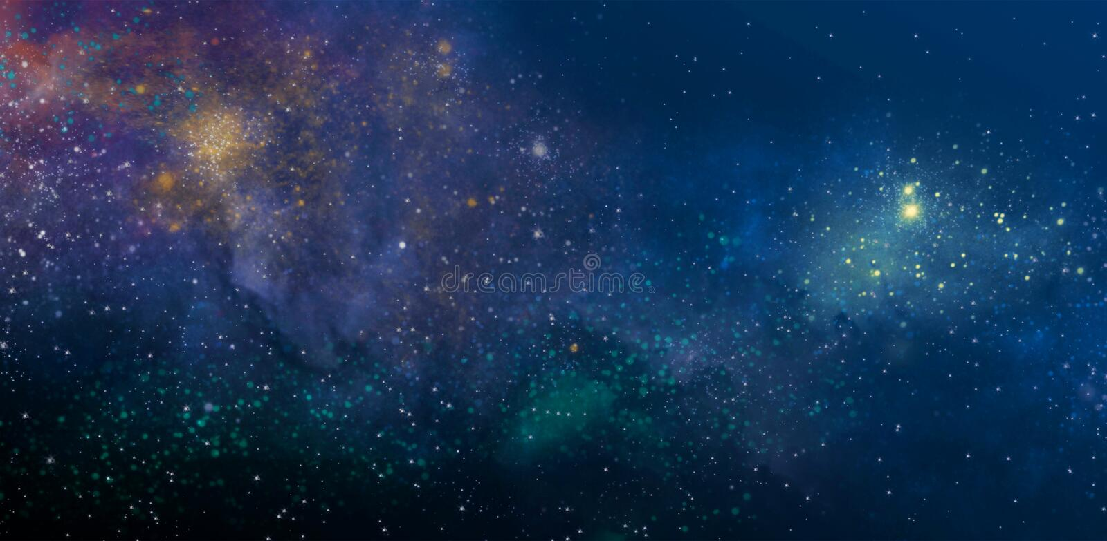Starry sky. With the colors of the nebula vector illustration