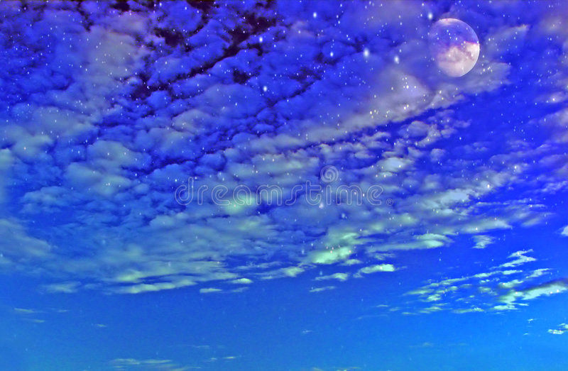Download Starry Sky stock illustration. Image of clouds, moon, stars - 3400092