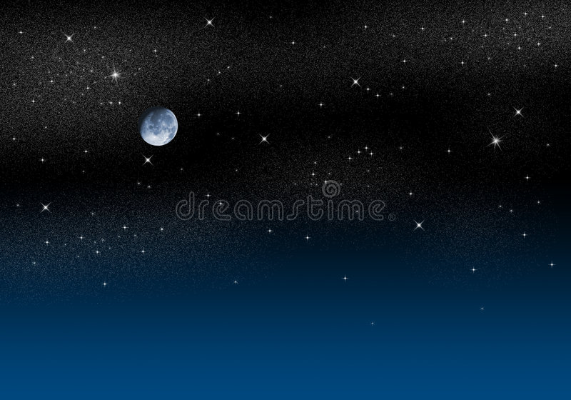 Starry Sky. Illustration of a deep dark night scene with starry sky and moon