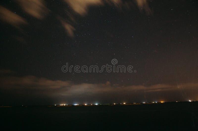 Starry sky above landscape royalty free stock photography