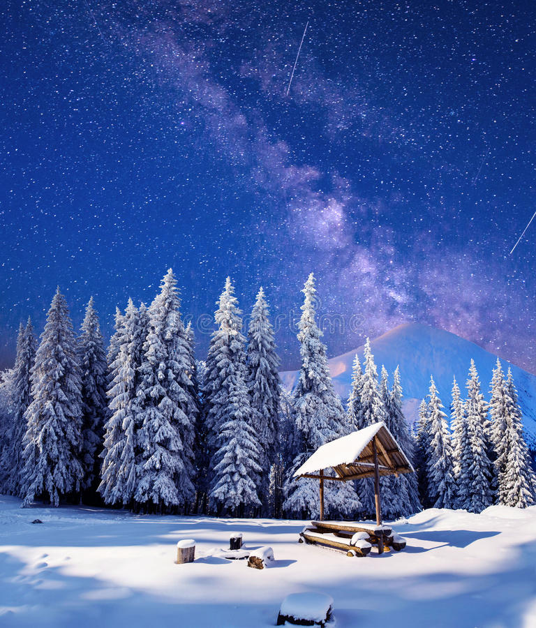 Starry sky in a fantastic New Year's Eve stock photo