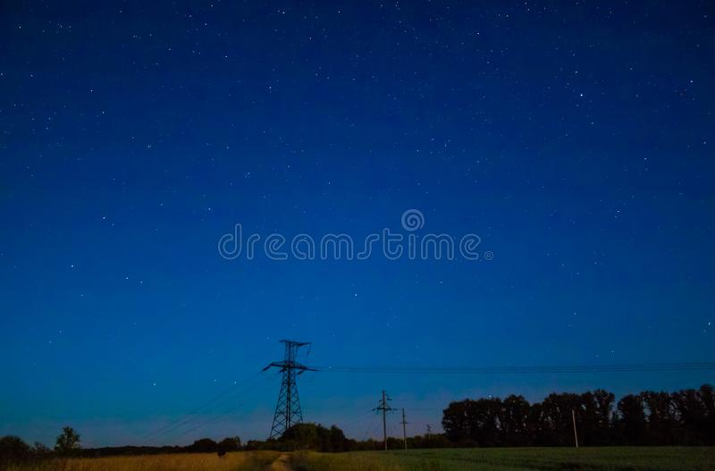 Starry sky in the field. royalty free stock photos