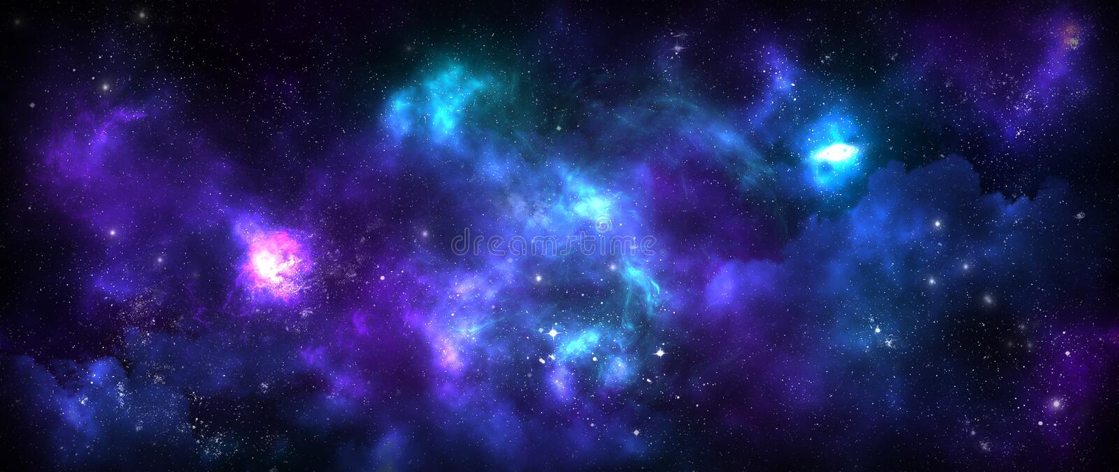 Starry sky full of galaxies. Stars and colored plasma nebulae stock illustration