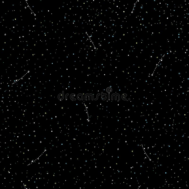 Starry sky hand draw seamless pattern, doodle rings and crosses in galaxy and stars style - endless background with vector illustration