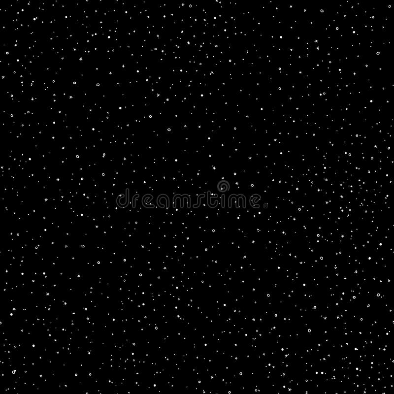 Starry sky hand draw seamless pattern, doodle rings and crosses in galaxy and stars style - endless background. Galaxy royalty free illustration