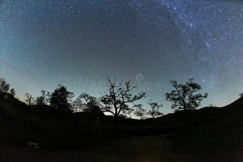 Starry sky landscape royalty free stock photo