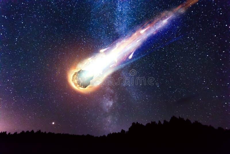 Starry sky milky way beautiful landscap night time, Belarus royalty free stock photography