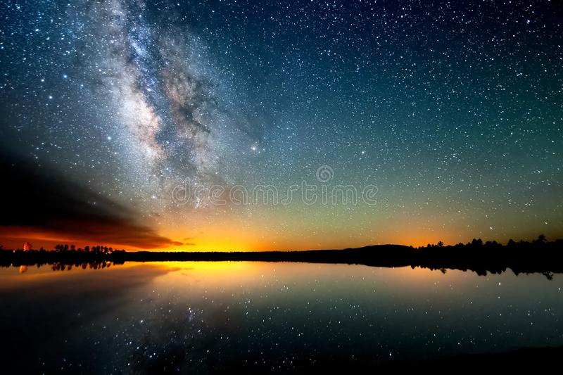 The starry sky, the milky way. Photo of long exposure. Night landscape royalty free stock photos