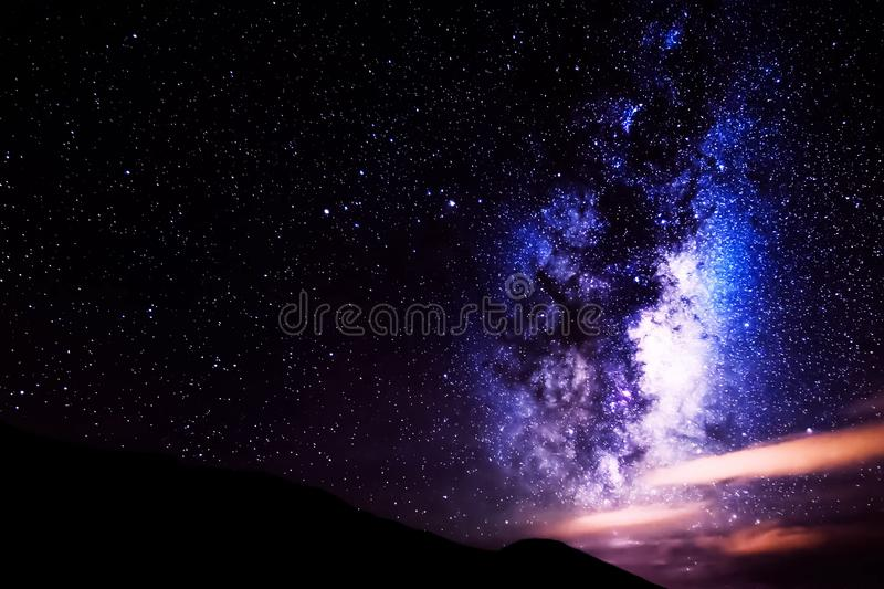 The starry sky, the milky way. Photo of long exposure. Night landscape stock photography