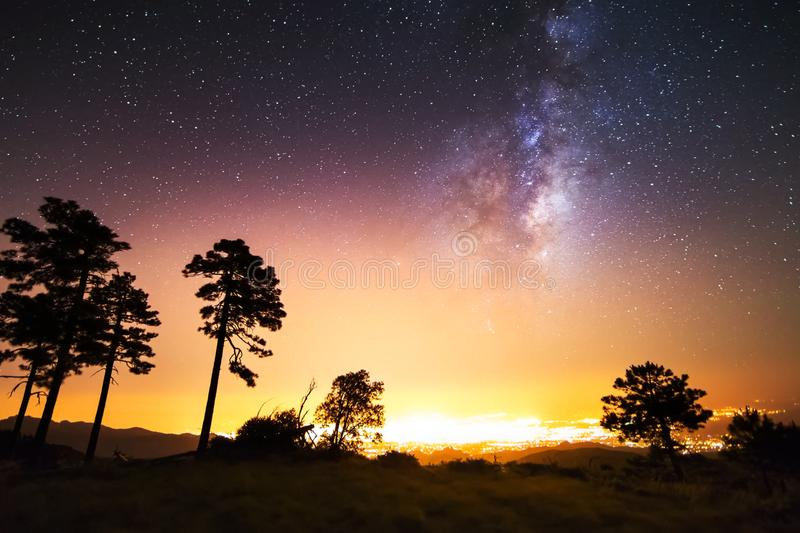 The starry sky, the milky way. Photo of long exposure. Night landscape stock photos