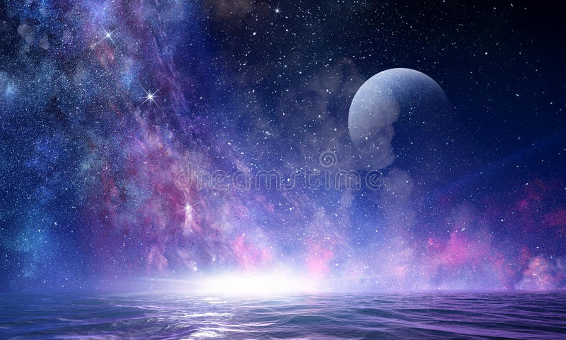 Starry sky and moon. Mixed media stock photography